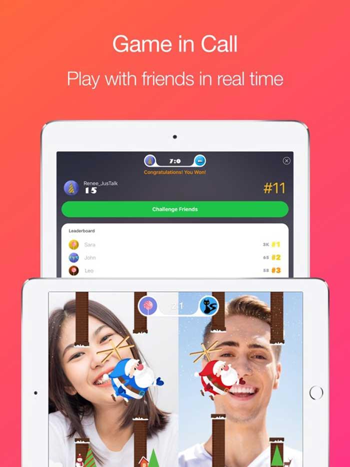 جاست تاک به شما این امکان را می دهد که در هنگام مکالمه ، با شخص مقابل ، با او بازی کنید
